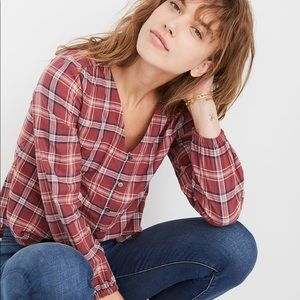Madewell V-Neck Button-Down Shirt Stratfield Plaid